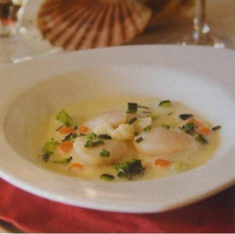 Coquille st. jacques met noilly prat saus (6 pers.) recept