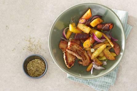 Regenboogwortels met aardappel en speklapjes uit de oven ...