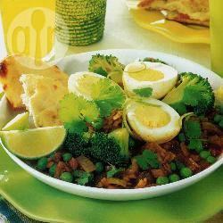 Eieren met erwten en linzen recept