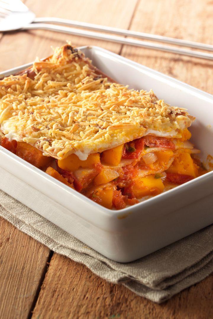 Recept 'lasagne met pompoen en tomaat'