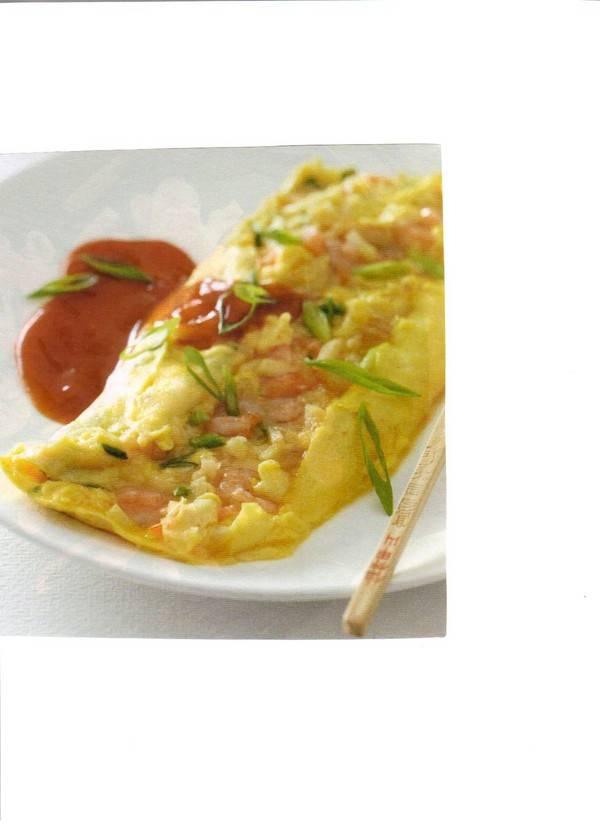 Foe yong hai met garnalen en lente ui recept