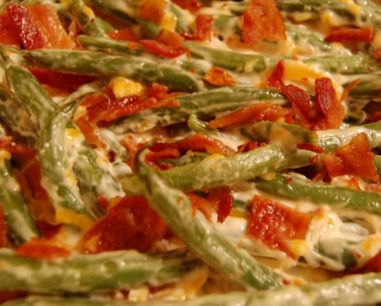 Ovenschotel: romige sperziebonen, bacon, kaas, ui recept ...