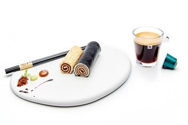 Recept 'sushi van wit brood, chocoladepasta, koffie en ...