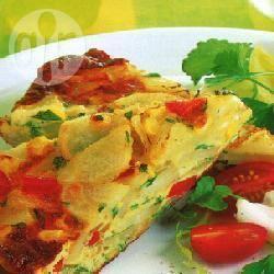Aardappelfrittata met maïs en paprika recept
