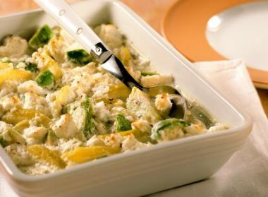 Recept 'spruitjesgratin met aardappelen en geitenkaas'