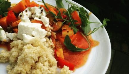 Vegetarische tajine met pompoen, zoete aardappel en feta recept ...