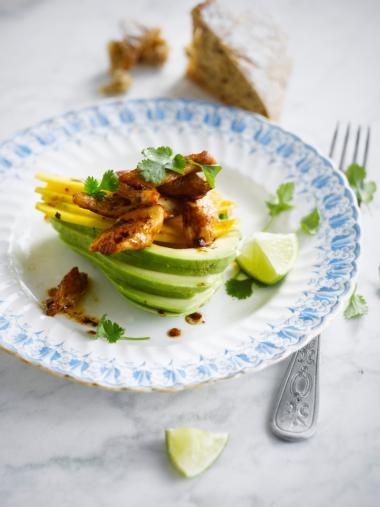 Recept 'gevulde avocado met kip & mango'