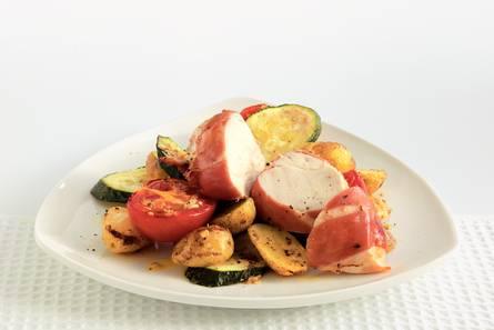 Kip met ham en krieltjes uit de oven