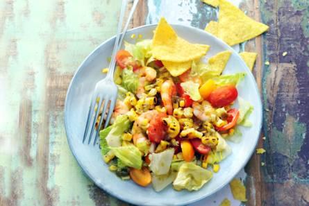Salade van geroosterde mais & garnalen