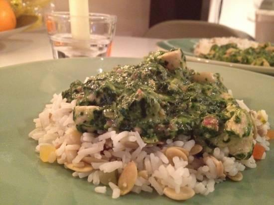 Boursin met spinazie en kip recept