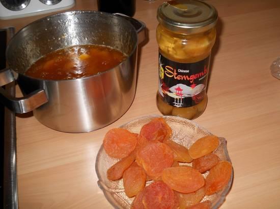 Abrikozen-gemberjam van gedroogde abrikozen recept