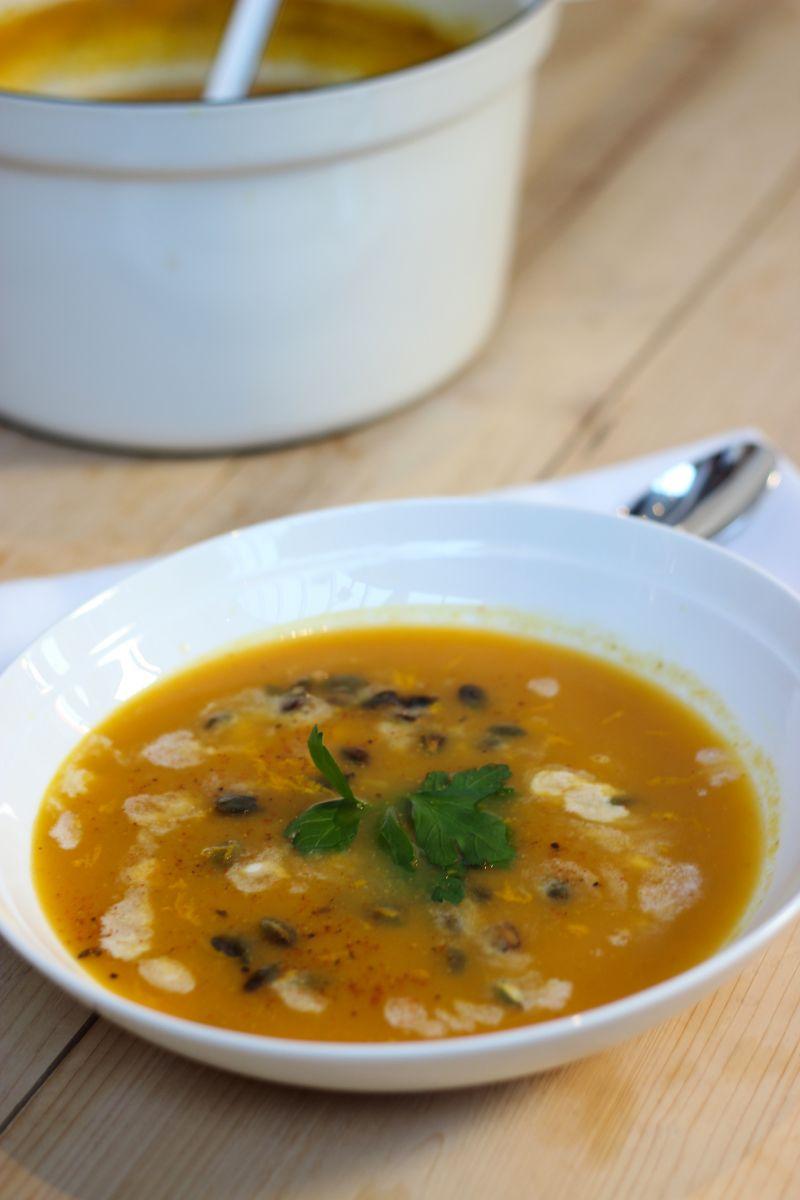 Recept 'zoete aardappelsoep met linzen'