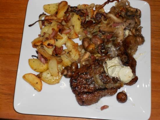 Herfst: entrecôte, gebakken aardappels, paddenstoelen recept ...