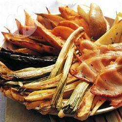 Geroosterde groenten met peer en bacon recept