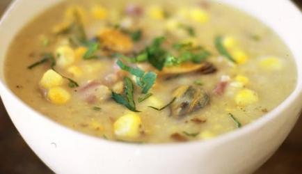 Sweetcorn &; mussel chowder (jamie oliver) recept