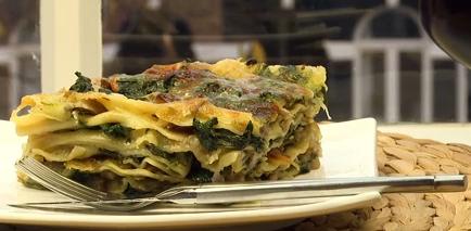 Lasagne met spinazie &; paddenstoelen recept