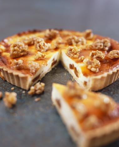 Recept 'kaastaart met walnoten'