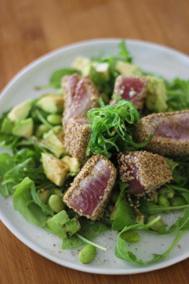 Recept 'salade met tonijn en zeewier'