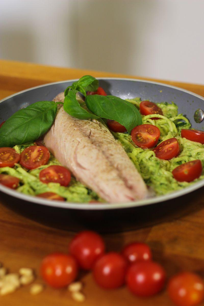 Recept 'courgetti met pesto en makreel '