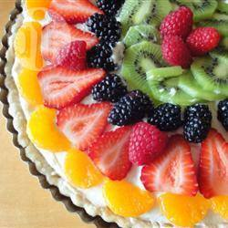 Fruittaart met witte chocolade recept