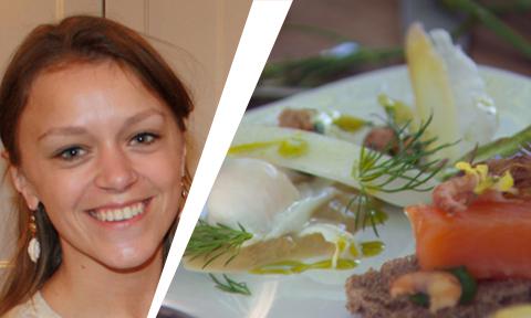 Kwarteleitjes met garnalen, zalmforel en asperges