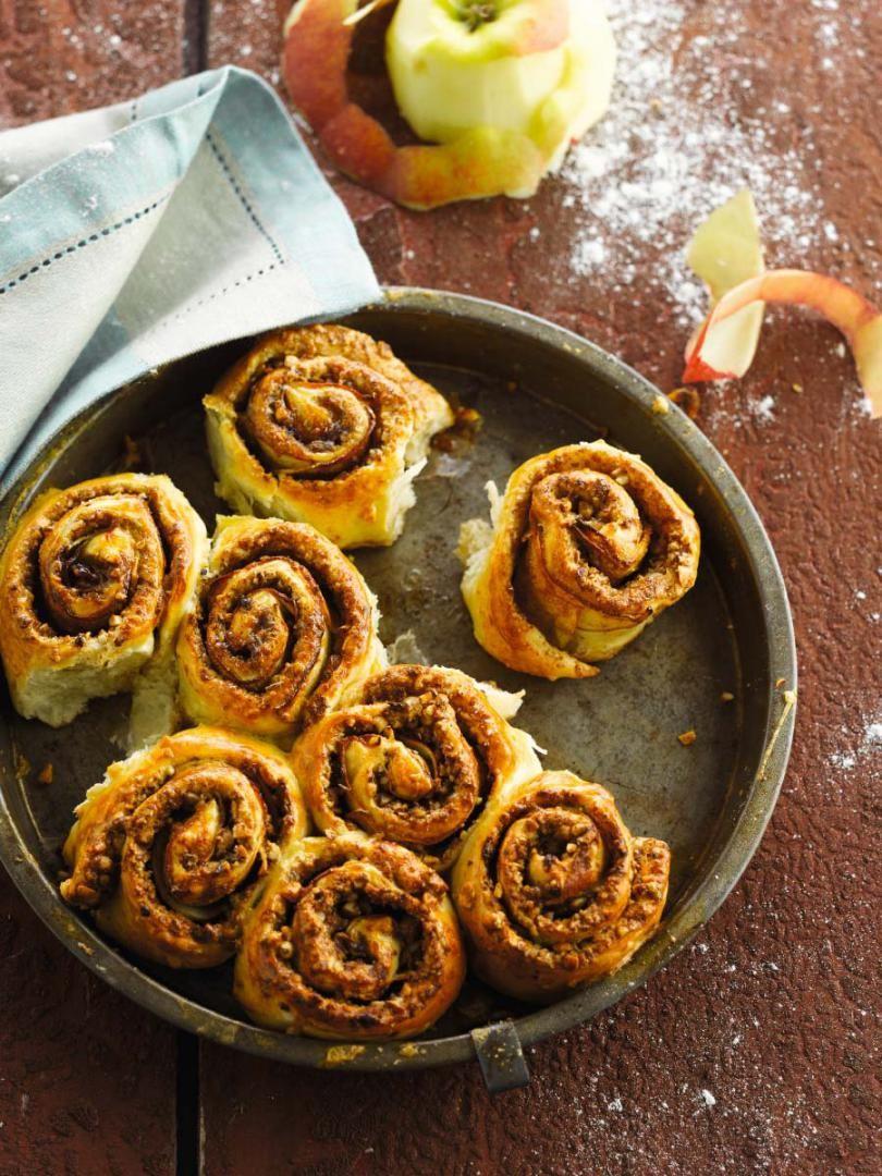 Recept 'kaneelbroodjes met appel en pecannoten'