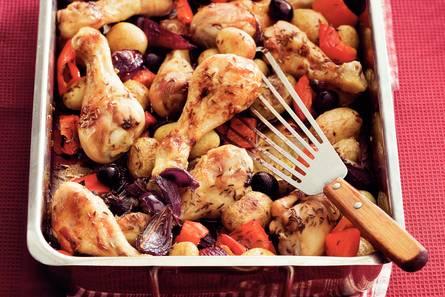 Kip met paprika en krieltjes