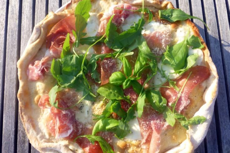 Pizza bianca met parmaham