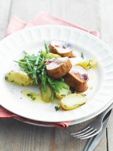 Recept 'geglaceerd varkensvlees met sperzieboontjes'