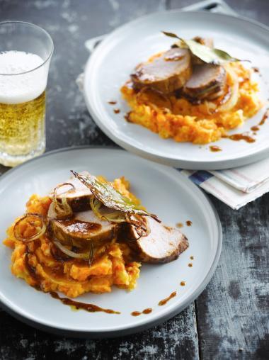 Recept 'gekaramelliseerd varkensvlees met wortelpuree'