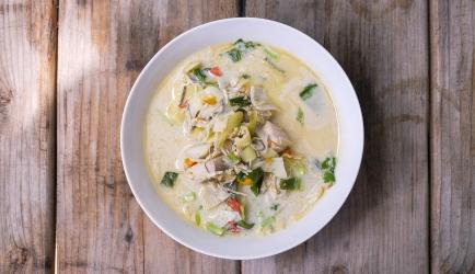 Tom kha kai met noedels (semi maaltijdsoep) recept