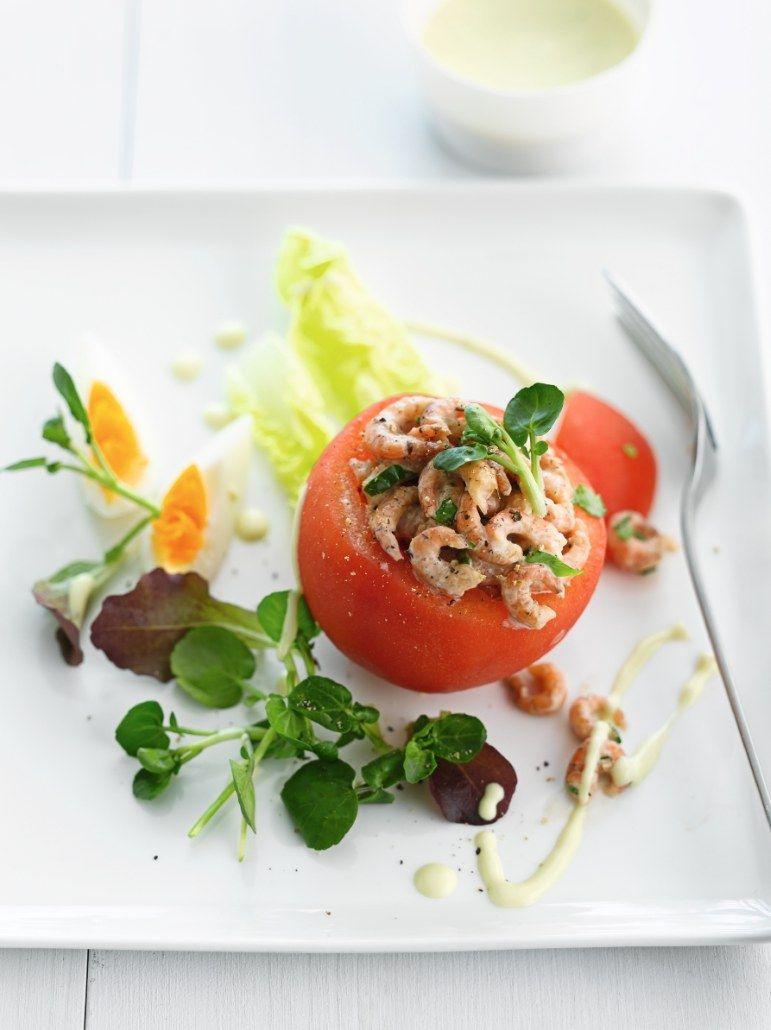 Recept 'tomaat met handgepelde grijze garnalen'
