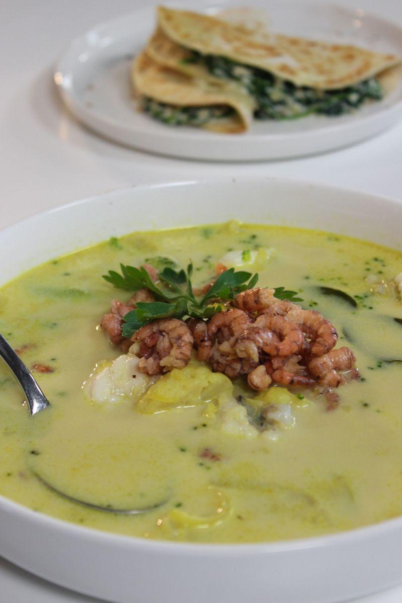 Recept 'vissoep met grijze garnalen en zeeduivel'