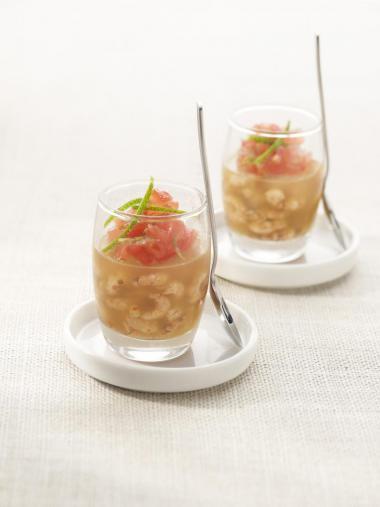 Recept 'gelei met garnalen, tomaat en limoen'