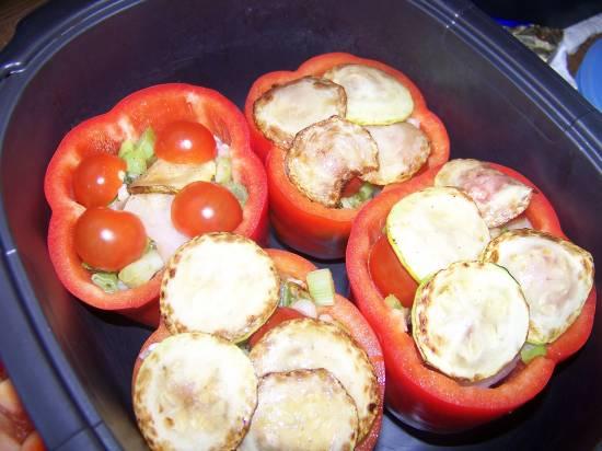 Gevulde paprika met 3 soorten vis recept