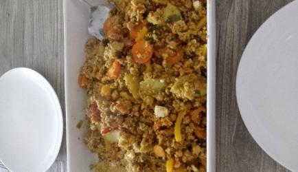 Couscous met kikkererwten, zoete aardappel en groente ...