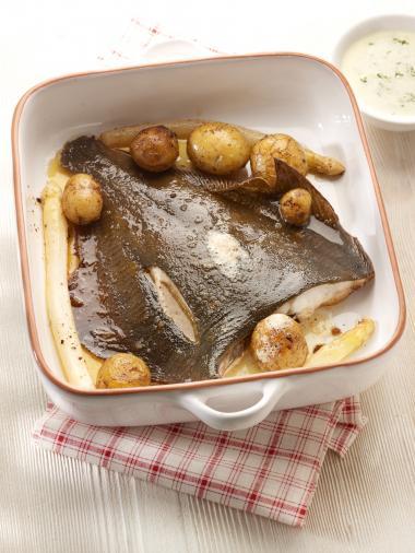 Recept 'pladijs met asperges uit de oven'