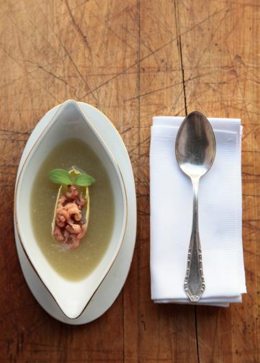 Recept 'witloofsoep met grijze garnalen'
