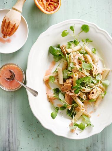 Recept 'pasta met fruitige tonijn'