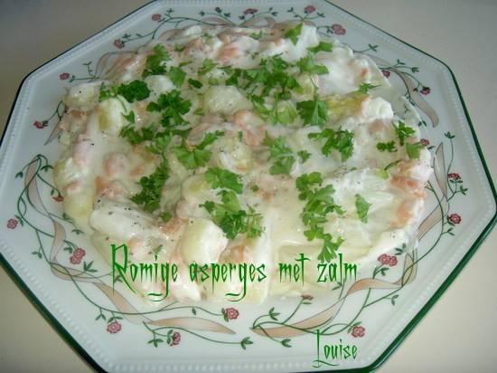 Romige asperges met zalm (slank gerecht) recept