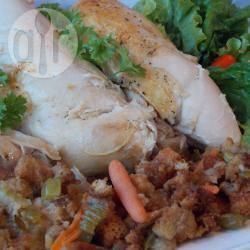 Gebraden kip met brood met groenten recept