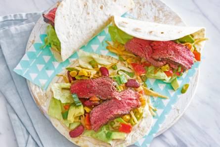 Wraps met gegrilde biefstuk