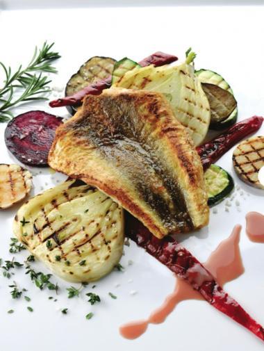 Recept 'rode poon met rode wijn en geroosterde groenten'