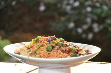 Recept 'spaghettini met peperoncini en guanciale'