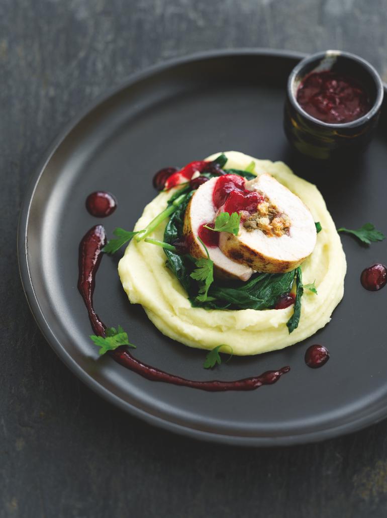 Recept 'opgerolde kalkoenfilet met verse spinazie'