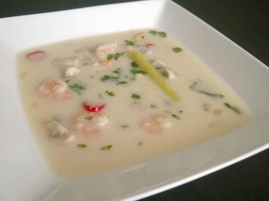 Thaise kokossoep met garnalen recept