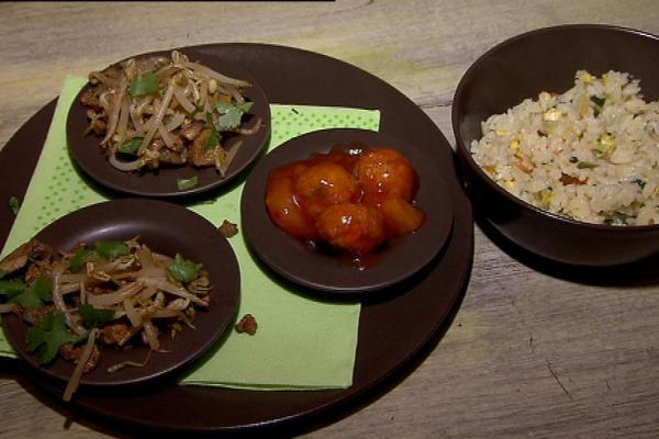 Oosters triootje: scampi kerrie, rundvlees met champignons en ...