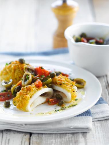 Recept 'gegratineerde inktvis met olijven-kappertjes salsa'