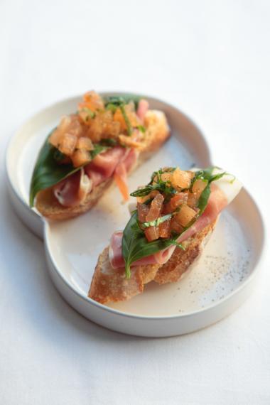 Recept 'bruschetta met italiaanse ham'