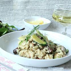 Risotto met paddenstoelen, courgette en spek recept